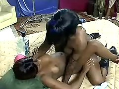 Horny chocolate sistas having fun