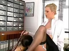 Teenie licking pussy her lesbo mistress on table